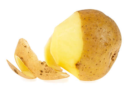 Peeled potato isolated on a white background Фото со стока