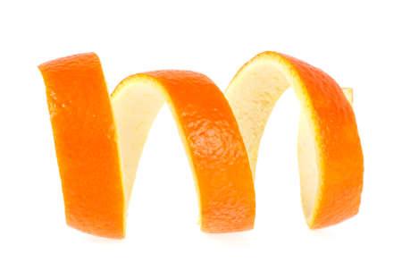 Single orange peel on a white background. Vitamin C, beauty health skin concept.