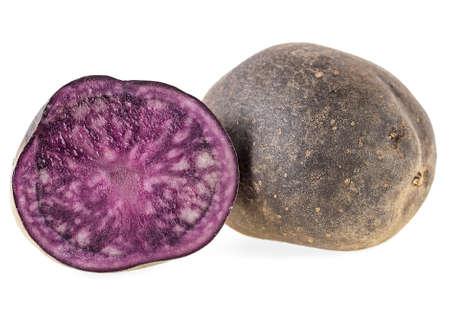 Vitelotte potatoes isolated on a white background