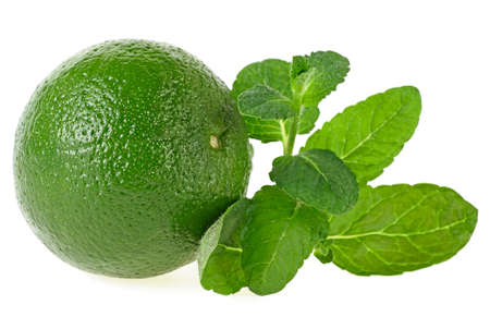 Fresh lime with mint leaves isolated on white background