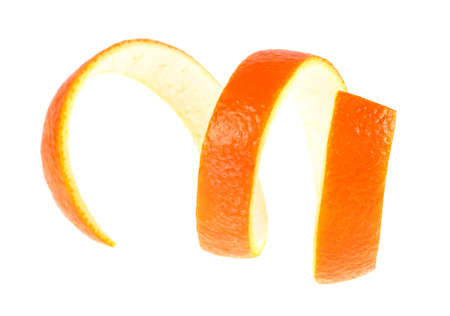 Single orange peel on a white background. Vitamin C, beauty health skin concept.