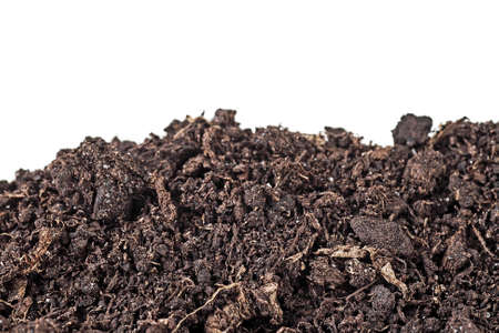 Heap of soil isolated on white background