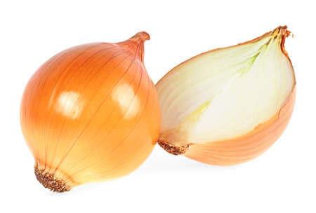 Fresh bulbs of onion on a white background Reklamní fotografie - 98362007