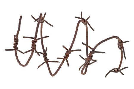 Barbed wire on a white background. Spiral form.