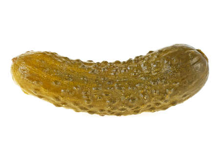 One pickled cucumber on a white background, close-up