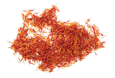 Saffron spice isolated over white background, top view  Stock Photo