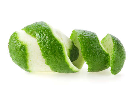 Fresh lime with peel isolated on white background Stock Photo
