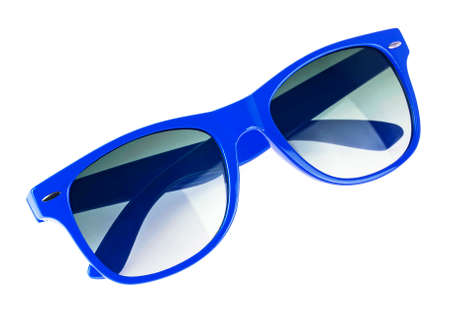 Blue sun glasses isolated over white background Stock Photo