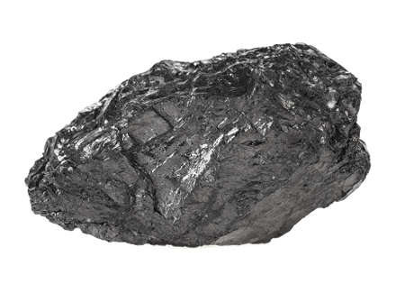 Piece of coal on a white background