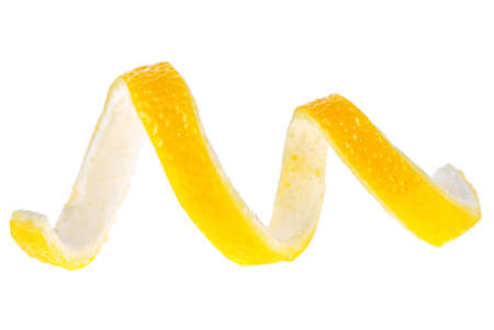 Lemon peel isolated on a white background. Healthy food. 스톡 콘텐츠