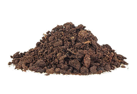 Heap of soil on a white background