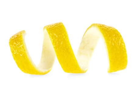 Zeste de citron isolé sur fond blanc