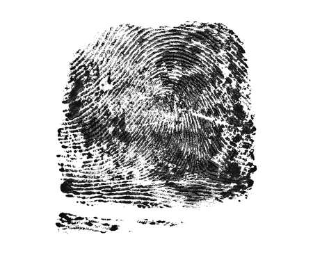 Real fingerprint on white background. Black color.