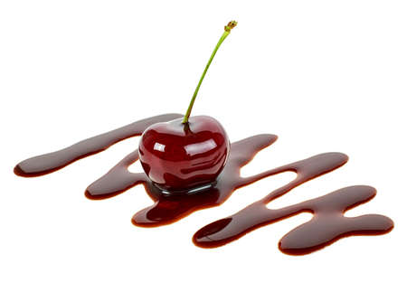 Cherry filled with hot chocolate on a white background