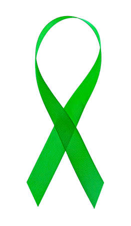 Green cancer awareness ribbon on a white background 스톡 콘텐츠