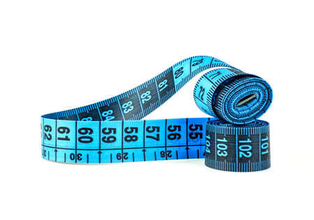 Measuring tape of the tailor isolated on white background. Blue color. 免版税图像