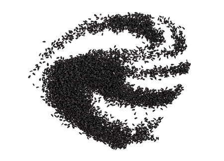 Pile of black cumin seeds isolated on white background, top view.