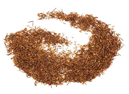 Dry rooibos tea leaves on white background, top view.