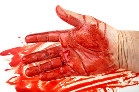 Hand in blood on a white background Imagens