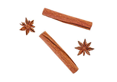 Anise and cinnamon isolated on white background, top view. Stockfoto