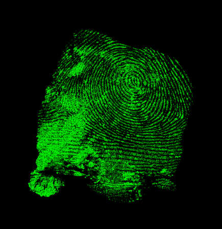 Green fingerprint on black background Imagens