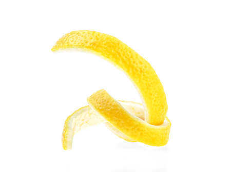 Lemon peel isolated on a white background. Healthy food. 版權商用圖片