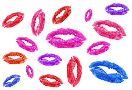 Set of different lipstick kisses on a white background