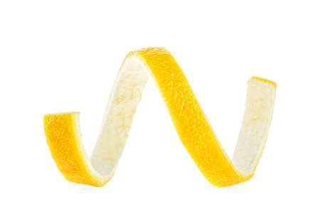 Lemon twist on a white background. Lemon peel. Stock Photo