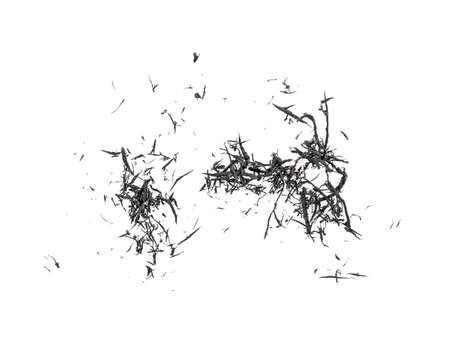 Eraser scrap on white background, black color.