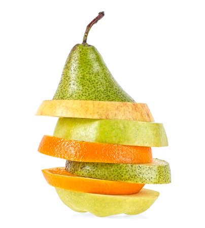 Fresh mixed fruit on a white background, fruits sandwich.