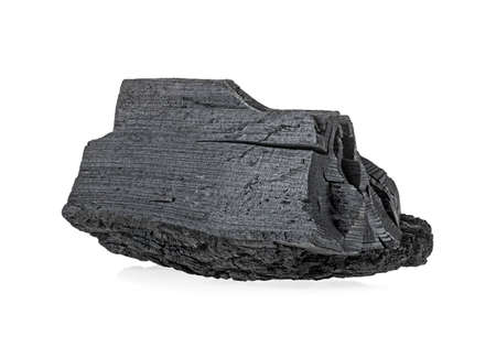 Natural wood charcoal isolated on white background. One piece.