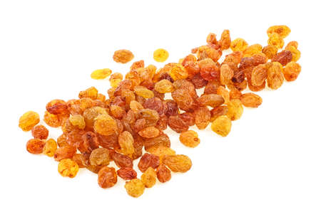 Yellow dried raisins isolated on a white background. Full depth of field.