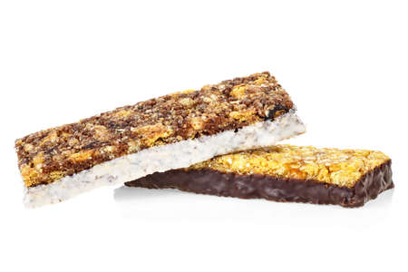 Granola bars isolated on a white background. Healthy sweet dessert snack.