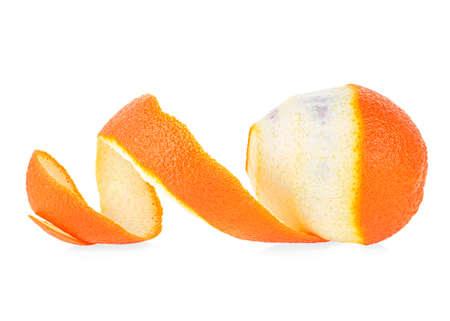Orange citrus fruit and orange peel against white background. Peeled orange.