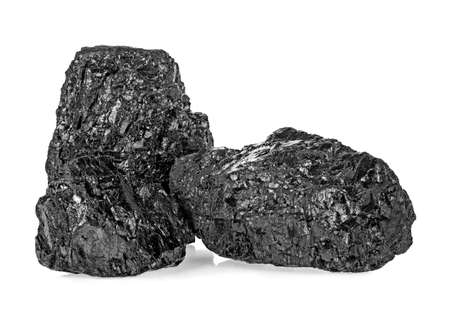 Two pieces of coal on a white background