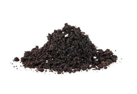 Heap of the organic soil isolated on white background