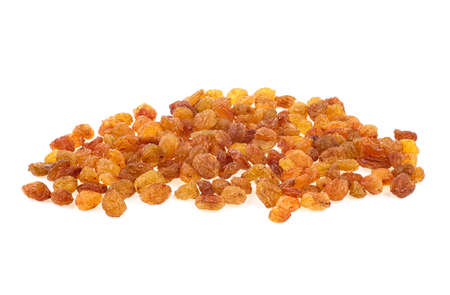 Yellow golden raisins isolated on white background