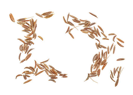 Dried cumin seeds isolated on white background. Top view.
