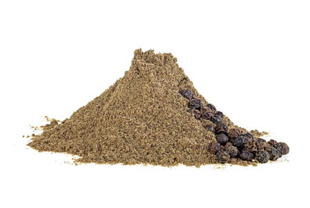 Heap of black pepper isolated on white background, grains and powder.
