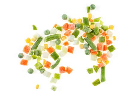 Pile of frozen vegetables mix with beans isolated on white background. Mexican mix. Top view. 스톡 콘텐츠
