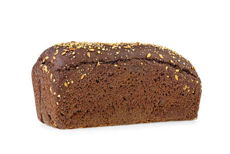 Fresh rye bread with flax seeds on a white background 스톡 콘텐츠