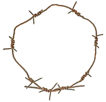 Rusty barbed wire circle isolated on a white background