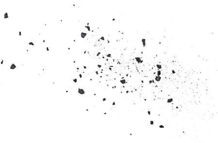 Black coal dust with fragments isolated on white background, top view.  写真素材