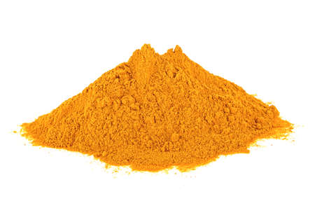 Turmeric powder isolated on a white background. Curry powder. Curcuma.