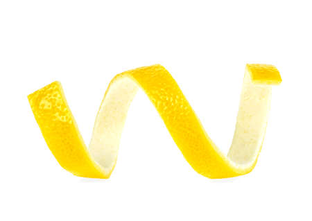 Ripe lemon peel isolated on a white background. Skin of bright yellow citrus fruit. Vitamin C. Healthy food. Imagens