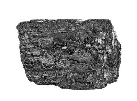 Coal briquette isolated on white background, close up. Stock Photo