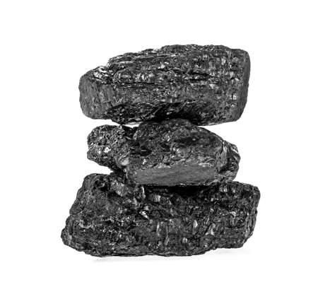 Pile of coal isolated on a white background Banco de Imagens