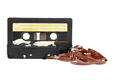 Classic audio cassette with tape isolated on white background