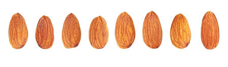 Set of different almond nuts on a white background. Top view.