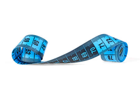 Measuring tape of the tailor isolated on white background, blue color. 写真素材
